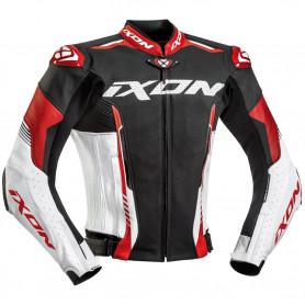 Giacca pelle moto Ixon Vortex 2 nera bianca rossa